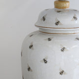 Bee Crackled Ceramic Urn Lamp