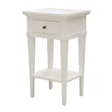 Petite White Bedside with Drawer and Shelf in Solid Mahogany