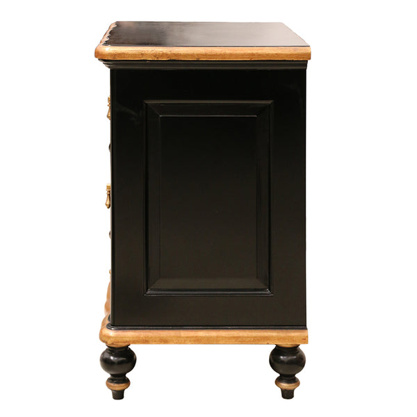 Ripple Front Bedside Table in Black and Gold