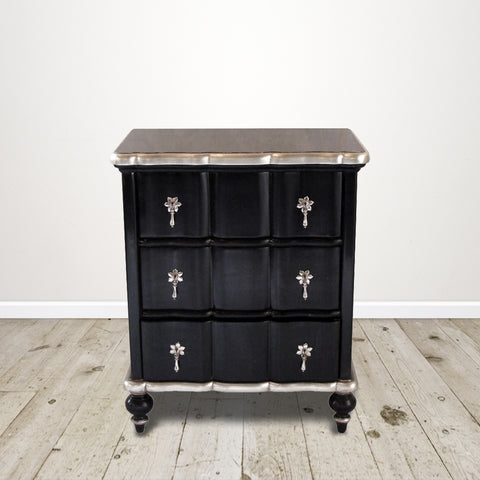 Ripple Bedside Cabinet in Black with Silver Leaf detail