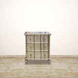 Ripple Front Bedside Table in Silver Leaf
