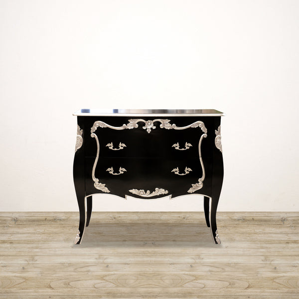 Bombay Chest of Drawers in Black and Silver Leaf
