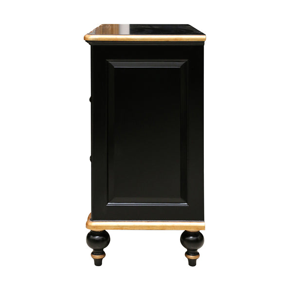 Ripple Front  Chest of Drawers in Black & Gold