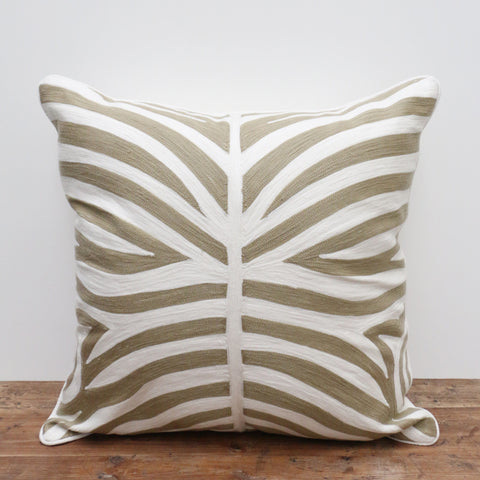 Beige Crewel Cushion in Zebra Pattern