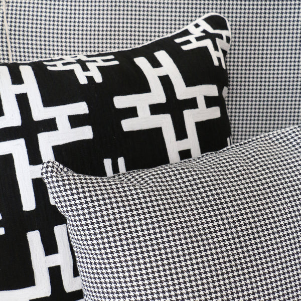 Black & White Crewel Cushion in Cross Pattern