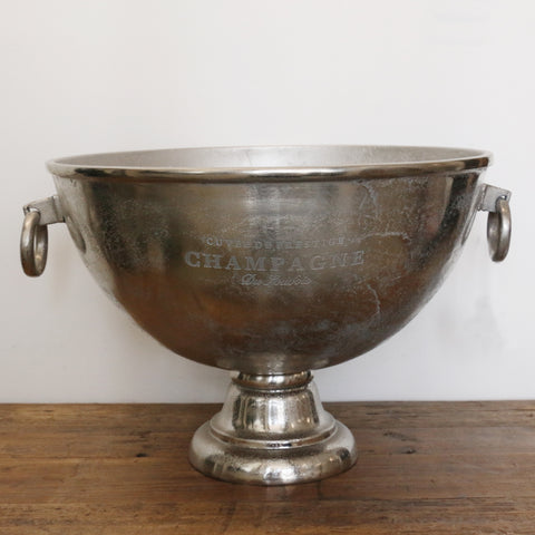 Large Antique Nickel Finish Champagne Bowl