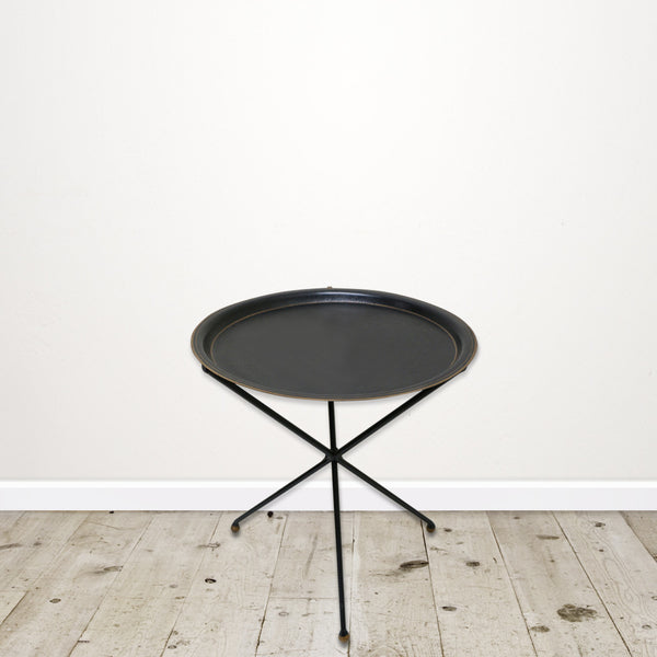 Tripod Occasional Table in Ash Black with Gold Detail