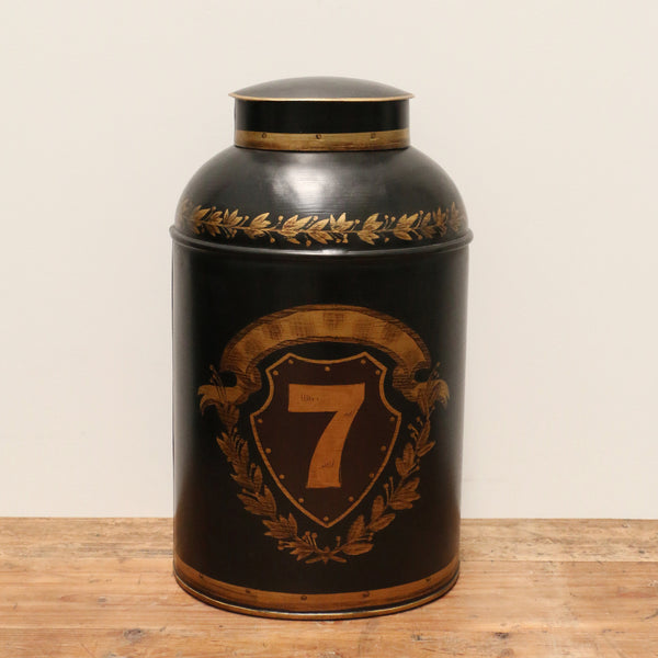 Urn in Ash Black with Gold Shield Design Large