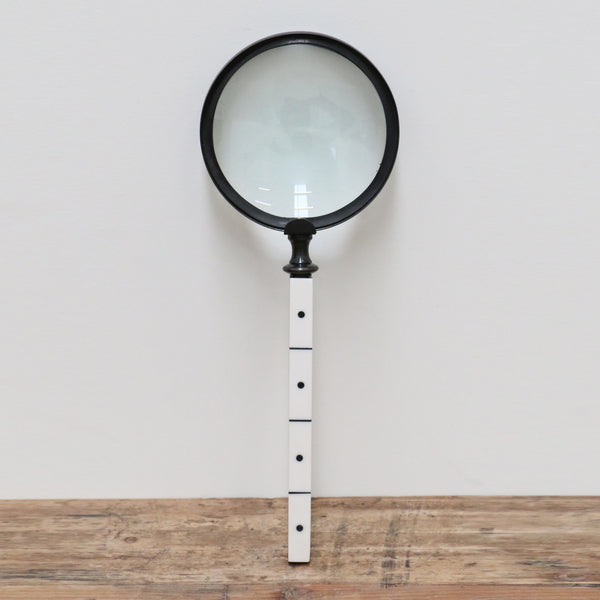 Magnifying Glass with Black and White Bone Handle