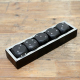 Black Timber Wooden Dice in Tray
