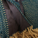 Polo Wool Picnic Rug with Leather Straps in Emerald and Mustard Brown