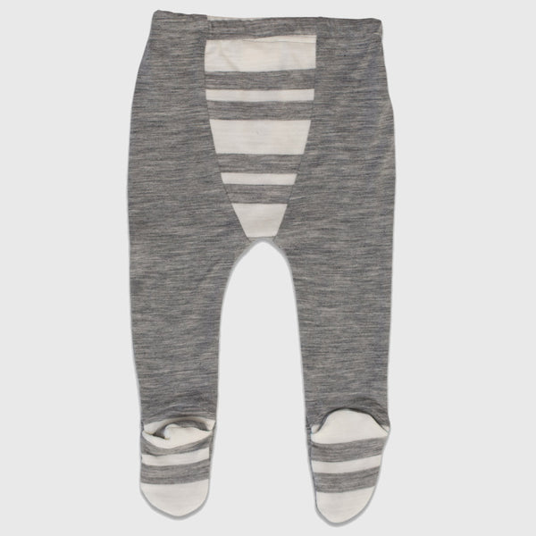 New Zealand Merino Footed Leggings in Grey Marl Stripe - 3-6mth