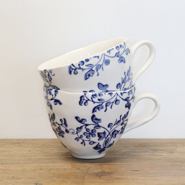 Florentine Hand Painted Cup in Blue