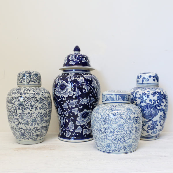 Blue and White Floral Ginger Jar - Medium