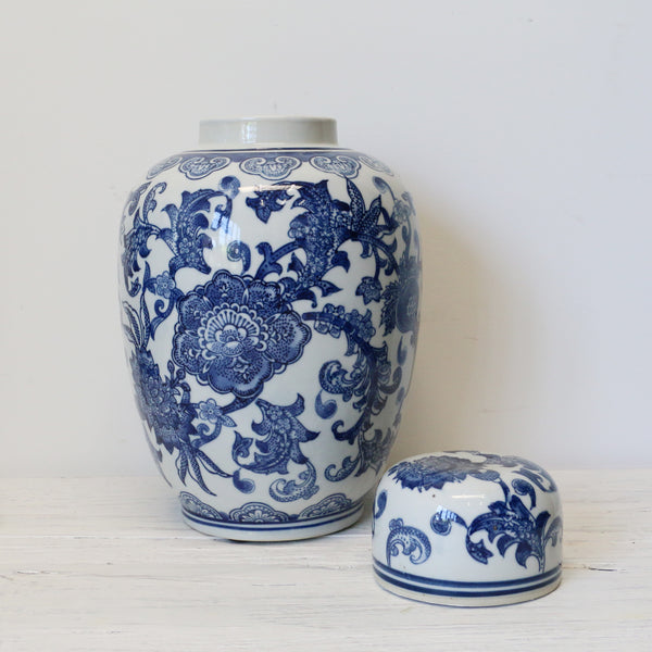 Blue and White Blossom Ginger Jar