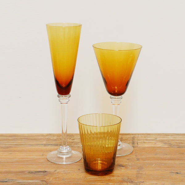 Ribbed Amber Glass Champagne Flute
