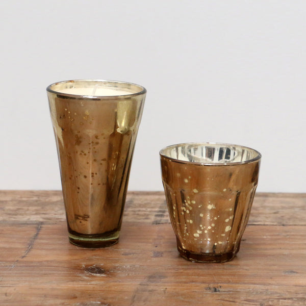 Large Gold Mercury Glass Votive with Candle