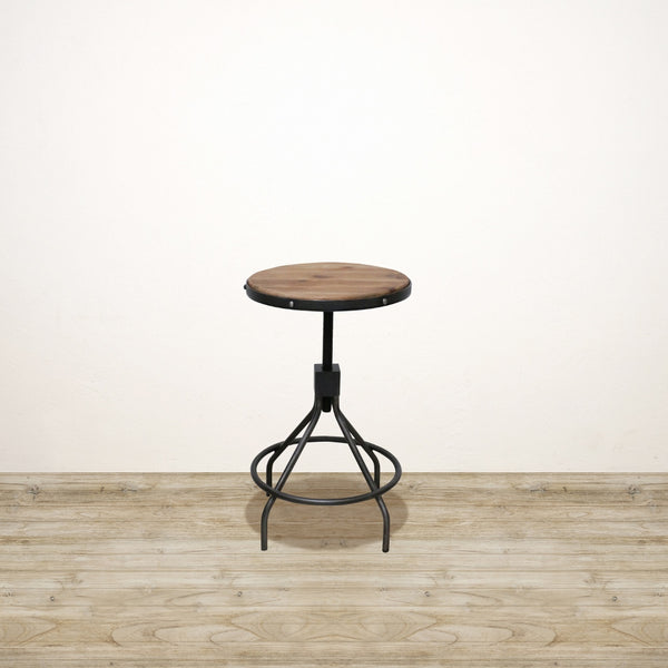 Industrial Bar Stool With Wooden Top