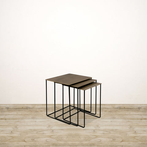 Square Nesting Metal Tables with Brass Finish Tops
