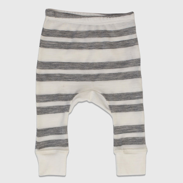 New Zealand Merino Gusset Leggings in Grey Marl Stripe - 6-12mth