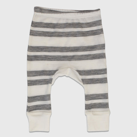 New Zealand Merino Gusset Leggings in Grey Marl Stripe - 3-6mth