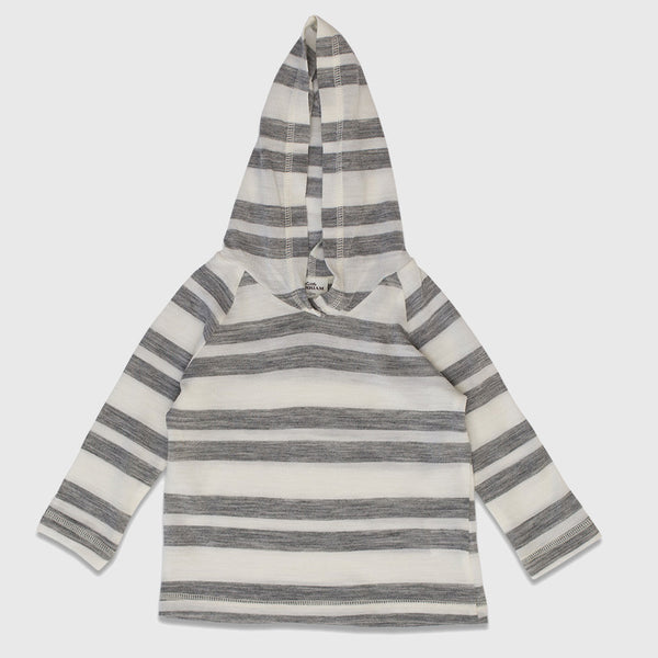 New Zealand Merino Stripe Hoodie in Grey Marl Stripe - 3-6mth