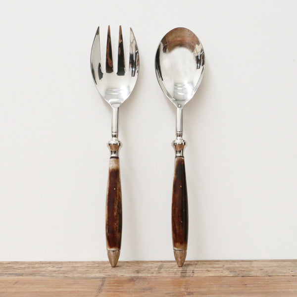 Salad Servers with Bone Handles