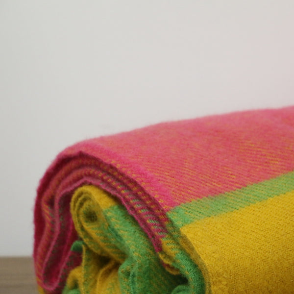 Wool Block Check Throw  in Citrus and Bright Pink