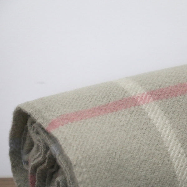 Wool Window Pane Throw in Putty with Pink and Blue Stripe