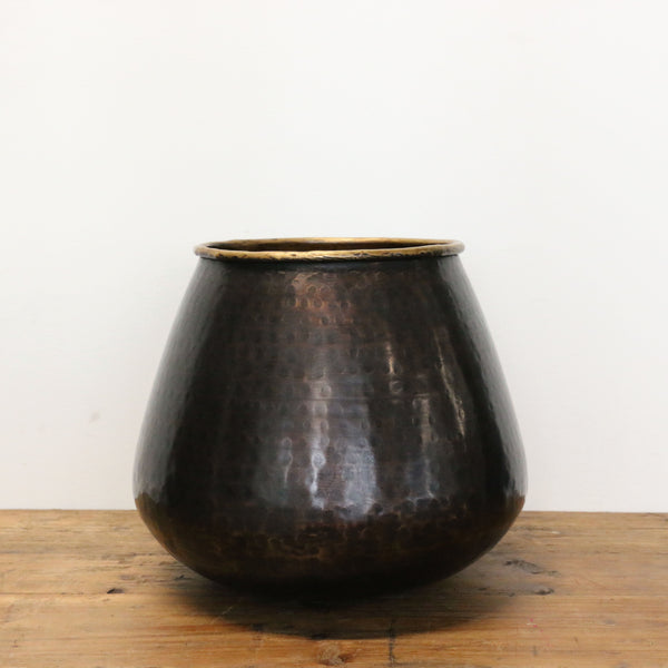 Brass Sculptural Vessel in Dark Copper Antique Finish