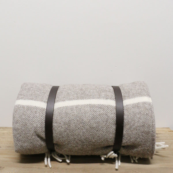 Polo Picnic Rug with Leather Straps  in Grey/White Broad Stripe
