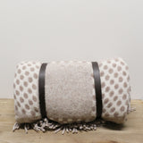 Polo Picnic Rug with Leather Straps  in Beige and White Spots