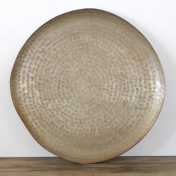 Round Beaten Organic Shaped Tray in Brass Antique Finish