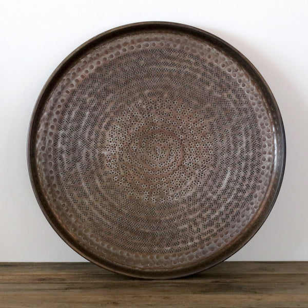 Round Beaten Tray in Antique Brass Finish