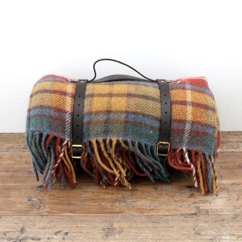 Tartan Picnic Rug with Leather Strap in Antique Buchanan Brown