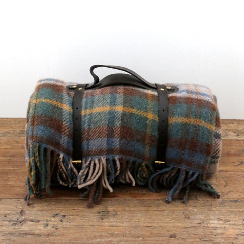Tartan Picnic Rug with Leather Strap in Antique Gordon Brown