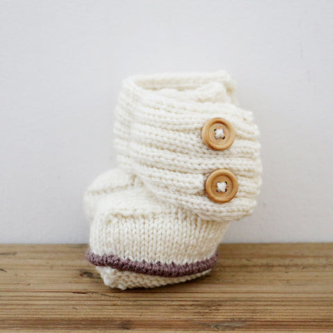 New Zealand Made Merino Wool Button Boots in Natural 0 -3 months