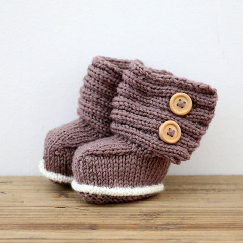 New Zealand Made Merino Wool Button Boots in Ash Brown 0 - 3 months