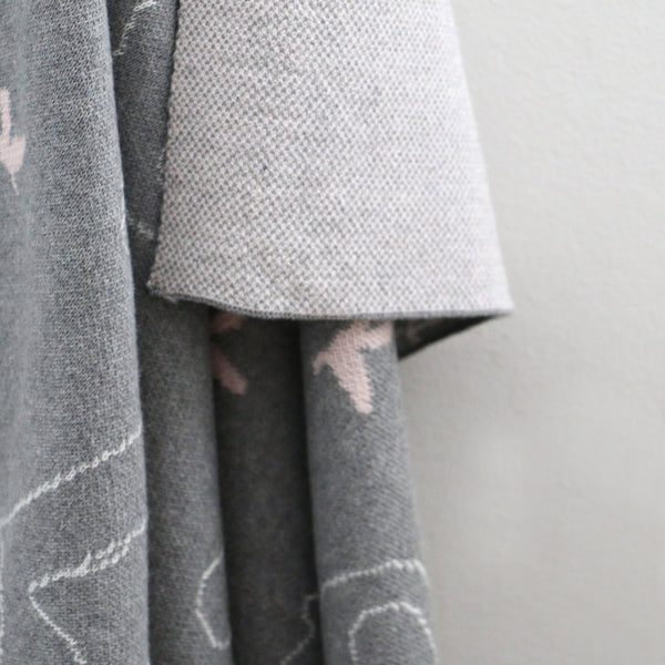 Babu Grey and Pink Elephant Blanket