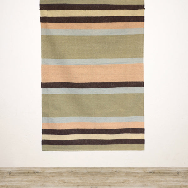 Multi Stripe Cotton & Jute Rug in Peach Green and Blue
