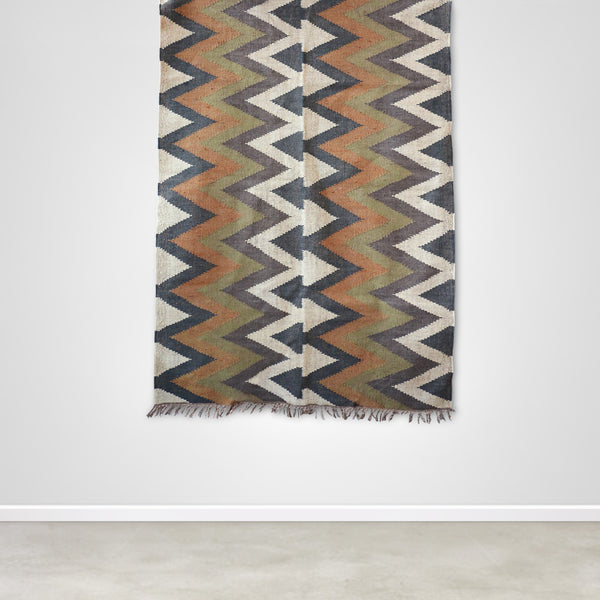 Organic Aztec Pattern Kilim Rug in Olive and Mustard