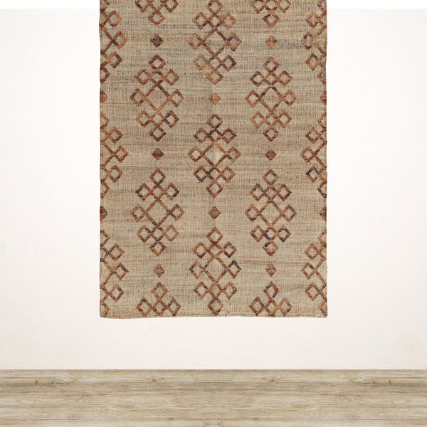 Jute Rug with Orange Diamond Pattern 1800x1200