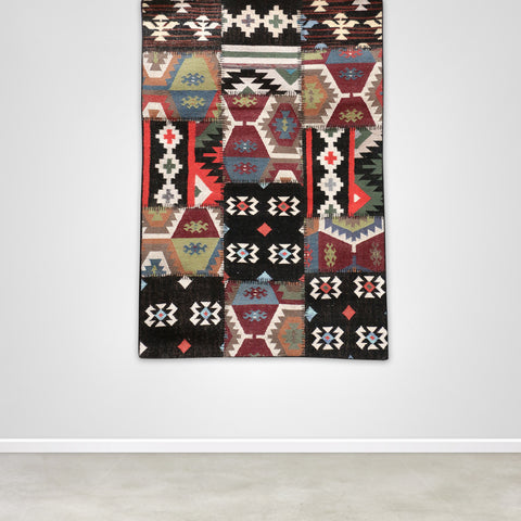 Small Black Aztec Patterned Patchwork Killim Rug