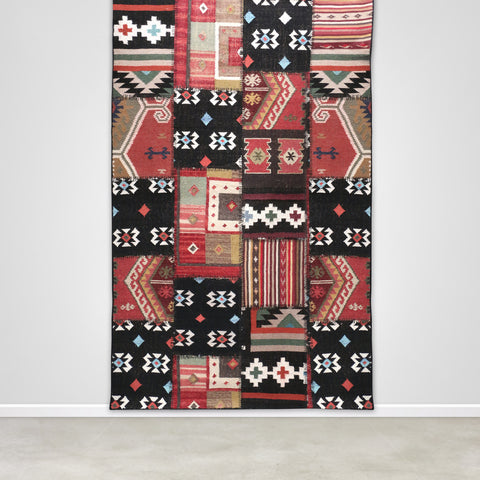 Large Black Aztec Patterned Patchwork Killim Rug