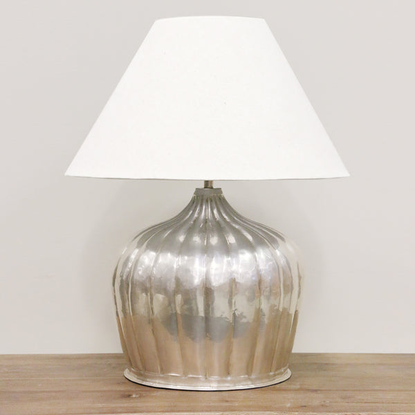 Handmade Brass Urn Lamp with Ridges in Antique Silver Finish