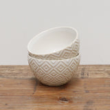 White Geometric Ceramic Dipping Bowl