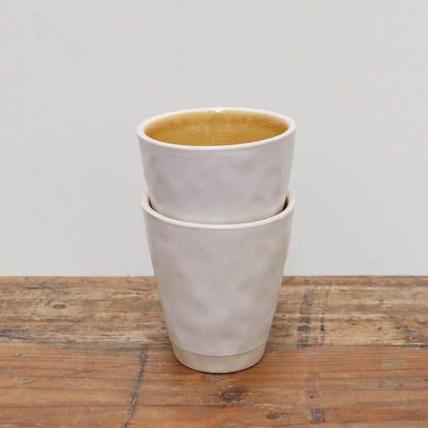 Ivoire and Moutarde Ceramic Cup