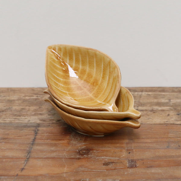 Ochre Crackled Glaze Leaf Dish Petite