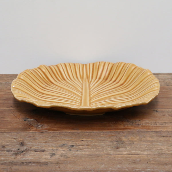 Feuille Ochre Crackled Glaze Leaf Platter