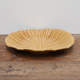 Ochre Crackled Glaze Leaf Platter 29cm